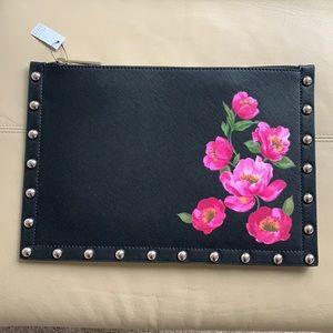 NWT WHBM black leather clutch